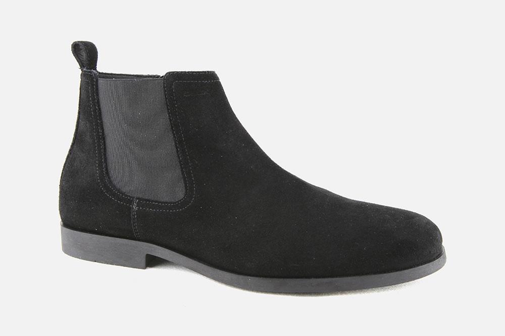 Men/'s Geox Kaspar Black Leather Ankle