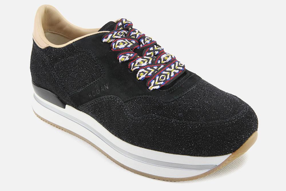 HOGAN H222 GLITTER BLACK Sneakers on La Botte Chantilly