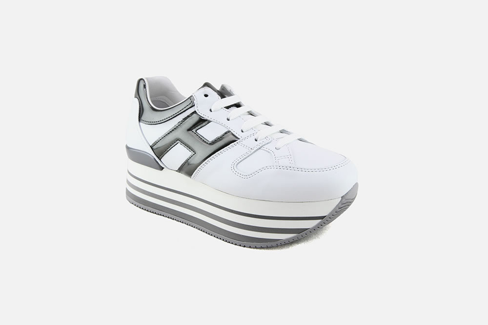 HOGAN MAXI H222 WHITE PEWTER Sneakers on La Botte Chantilly