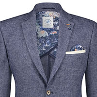 BLAZER NAVY LINEN STRUCTURE - A Fish Named Fred