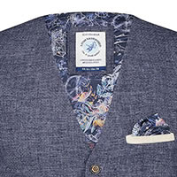 WAISTCOAT NAVY LINEN STRUCTURE - A Fish Named Fred
