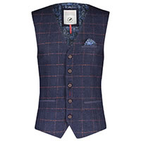 WAISTCOAT NAVY RED WINDOWPANE - A Fish Named Fred