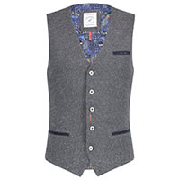 WAISTCOAT STRUCTURED BLUE GREY - A Fish Named Fred