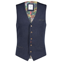 WAISTCOAT STRUCTURED KNIT BLUE - A Fish Named Fred