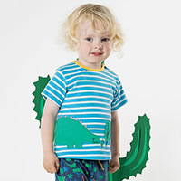 DINO STRIPES BLUE TSHIRT - Frugi