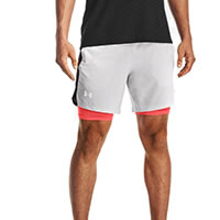 UA LAUNCH SHORT WHITE GREY - Under Armour